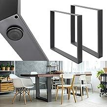 ECD Germany 2 stuks tafelframe - 70 x 72 cm - gepoedercoat staal - donkergrijs - industriële vormgeving - tafelonderstel t...