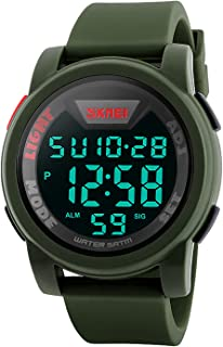 Men's Digital Sports Watch LED Screen Large Face Military Watches, Waterproof Luminous Stopwatch Alarm Simple Army Watch