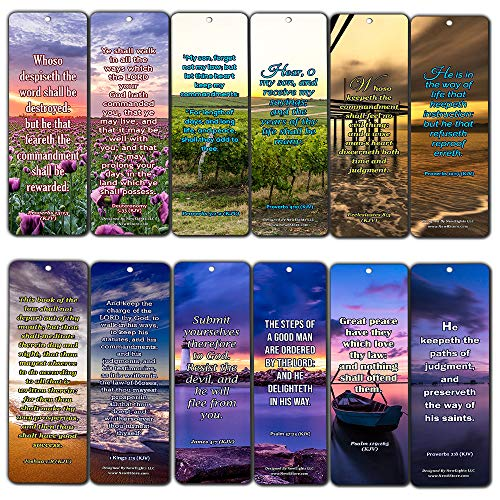 KJV Scriptures Bookmarks - Rewards for Obeying God (12-Pack) - Inspiring Scripture Texts About Obedience to The Lord