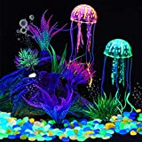 306 Piedras Brillantes de Acuario Plantas Acuáticas Artificiales Decoraciones de Rocas Luminosas para Peceras Guijarros Resplandecientes con Plantas de Plástico Submarinas para Jardín