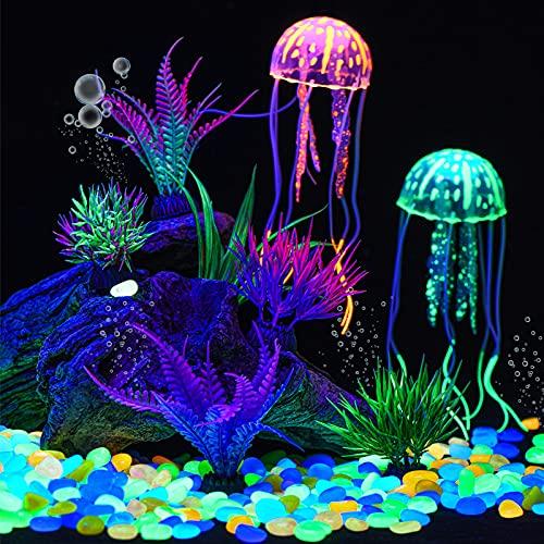 306 Pièces Pierres Lumineuses Aquarium Plantes Aquatiques Artificielles Décors Lumineux d'Aquarium Roches Rougeoyantes Cailloux avec Plantes Plastique Sous-Marines pour Jardin Aquarium