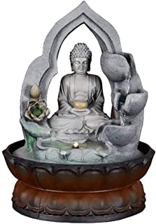 Indoor Fountains Desktop Fountain Feng Shui Lucky Crafts Auspicious Buddha Statue Flowing Water Fountain Home Decoration Feature Gifts (Size : S)
