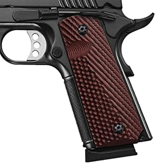 Cool Hand 1911 G10 Grips, Full Size (Government/Commander), Screws Included, Mag Release, Ambi Safety Cut, New Generation OPS Texture, Cherry Color, H1-JV-6