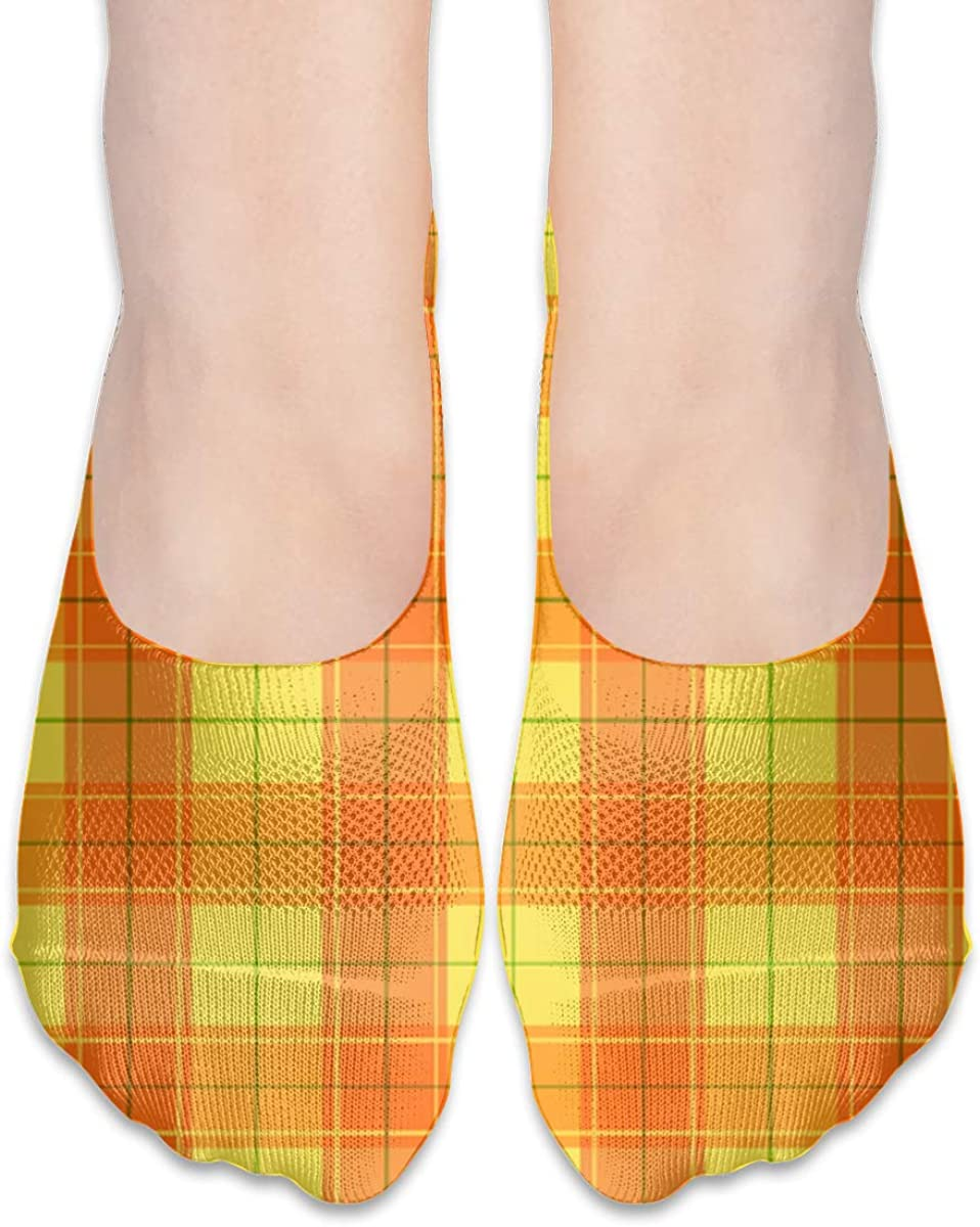 No Show Socks Women Men For Orange Halloween Plaid Flats Cotton Ultra Low Cut Liner Socks Non Slip