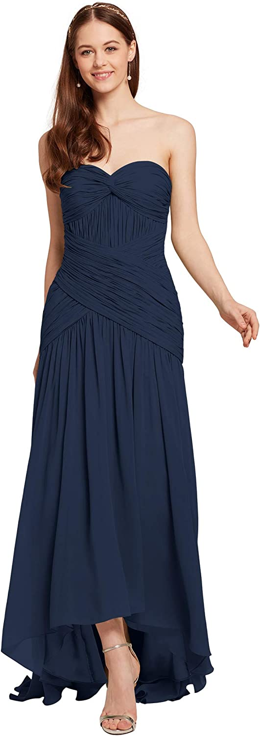 AW BRIDAL Strapless Formal Dresses for Women Evening Party Dress Chiffon Long Bridesmaid Dresses