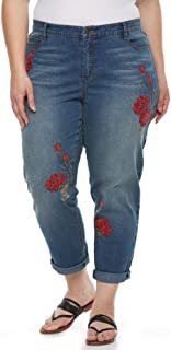 Women's Plus Size Stefania Embroidered Roll Crop Ankle Jeans, Sundance