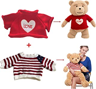 2 pcs for Teddy Bear Clothes The Red Sweater With a Heart T-shirt and Stars Striped Sweater Fit 14