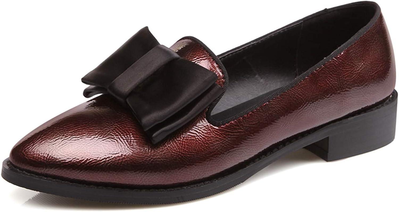 Jocbinltd Elegant Women shoes Bowtie Flat shoes Loafers Pointed Heels shoes Ladies Flats European Footwear Wine red