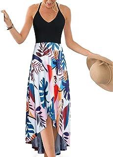c0c2400229 KILIG Women's V Neck Sleeveless Summer Asymmetrical Patchwork Floral Maxi  Dresses