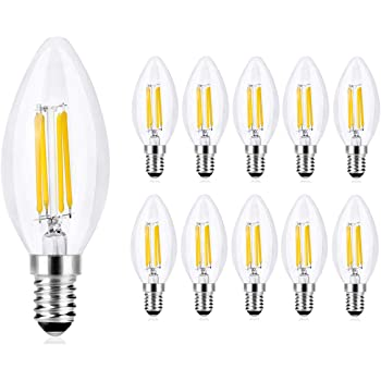 Wedna Bombillas Vela de Filamento LED E14, 4W equivalente a 40 W, 420 Lúmenes Blanco Cálido 2700K, No regulable - Pack de 10: Amazon.es: Iluminación