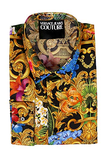 VERSACE JEANS COUTURE Jungle Baroque Print Shirt in Black Multi