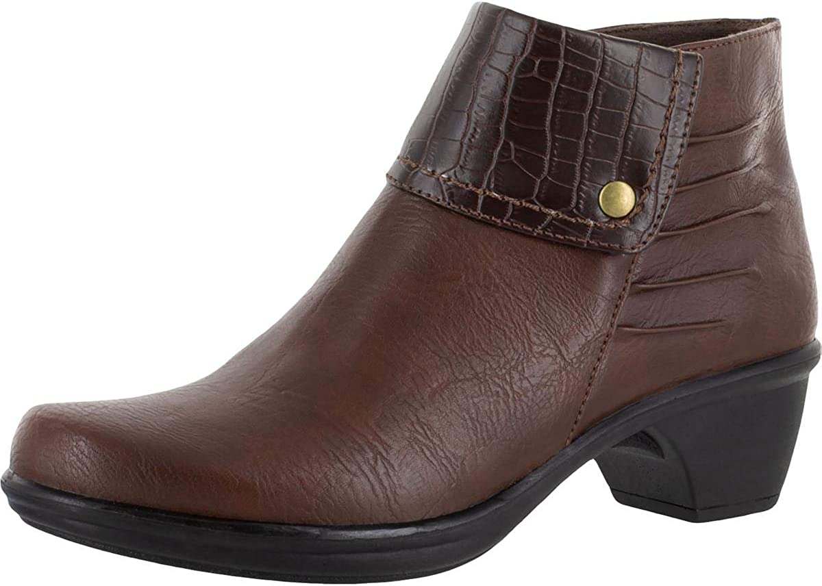 Easy Street Womens Jayden Faux Leather Ankle Booties Brown