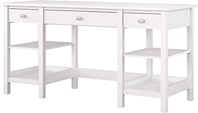 Bush Furniture Broadview 60W Desk with Storage Shelves and Drawers in White