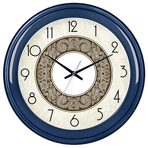 LINGZHIGAN 14-inch Mute Horloge Murale Creative Simple Salon Chambre Horloge Murale Personnalité Salon Ronde Quartz Horloge Montre Table Suspendue (Couleur : Royal blue)
