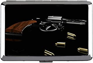 Cute Stainless Steel ID or Cigarettes Case (King Size),Gun Cleaning Mat Revolver Cigarette Box Metal Silver for 14 Cigarettes