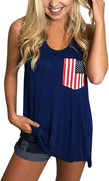 Staron Womens American Flag Tank Top 4th July Tanks Casual Sleeveless USA Flag Tops Shirts Blouse
