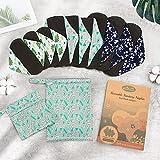 Viedouce Almohadilla Menstrual Reutilizable,Súper Absorción Reutilizables de Carbón de Bambú Almohadilla Menstrual con 2 Impermeables Bolsas de Almacenamiento (S * 3pcs + M *3pcs + L * 3pcs, color-01)