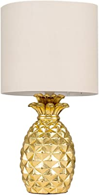 Contemporary Pineapple Design Table Lamp in a Gold Effect Finish with a Beige Cylinder Shade