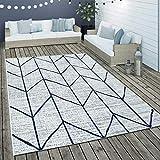 Paco Home Alfombra De Tejido Plano Interior Y Exterior Motivo Escandinavo Geométrico Blanco, tamaño:200x290 cm