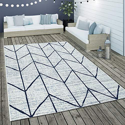 Paco Home Tapis Intérieur & Extérieur Tissage À Plat Géométrique Motif Scandinave en Blanc, Dimension:160x230 cm