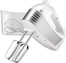 Hand Mixer Electric, Cusinaid 5-Speed Hand Mixer with Turbo Handheld Kitchen Mixer Includes Beaters, Dough Hooks and Storage Case (White)
