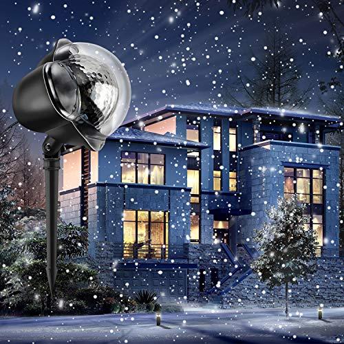 Luce di caduta della neve Natal Impermeabile Proiettore Fiocchi di Neve Spotlight LED Rotazione di Proiettore Lampada da Giardino Mostra per Halloween, Natale, Festa, Patio, Giardino Compleanno, Matri