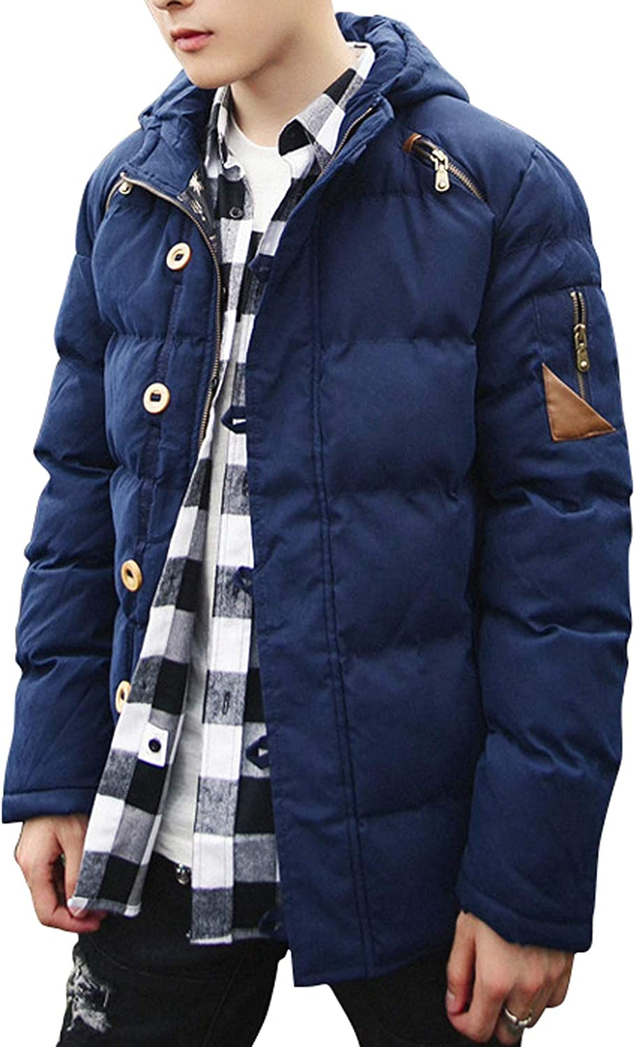 Itemnew Mans Stylish Full-Zip Button-Up Hooded Quilted Puffer Coat Padded Jacket
