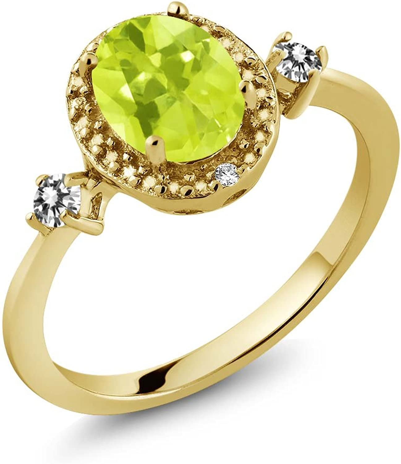 1.24 Ct Yellow Lemon Quartz White Diamond 18K Yellow gold Plated Silver Ring With Accent Diamond
