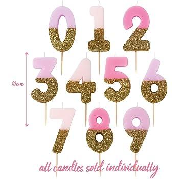 URAQT Candele di Compleanno Numbero 2 Feste di Anniversario di Matrimonio ECC. Adatto A Feste di Compleanno Serate di Laurea Candele di Compleanno Oro Glitter