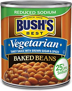 BUSH'S BEST Reduced Sodium Vegetarian Baked Beans, 16 Ounce Can (Pack of 12), Canned Beans, Baked Beans Canned, Vegetarian Food, Kosher, Source of Plant Based Protein and Fiber, Low Fat, Gluten Free