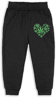 Easionerol Green Heart Marijuana Leaf Weed Kids Long Sweatpants Jogger Trousers