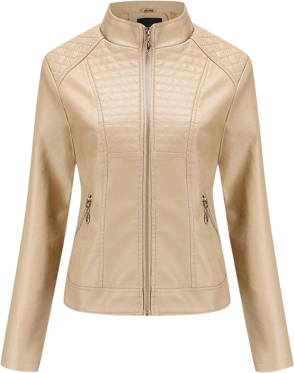 Uaneo Women's Stand Collar Zip Up PU Leather Moto Biker Short Bomber Jacket (Large, Khaki)