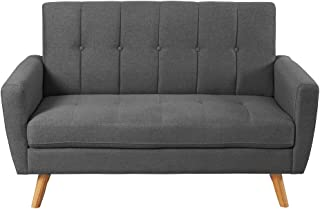 Rhomtree Modern Loveseat Living Room Sofa Couch with Upholstered Fabric Mid Century Home Furniture (56 Inch, Gray)