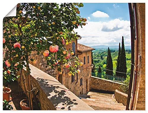 Artland Poster Kunstdruck Wandposter Bild ohne Rahmen 40x30 cm Fensterblick Toskana Landschaft Garten Rosen Balkon Natur T4QS
