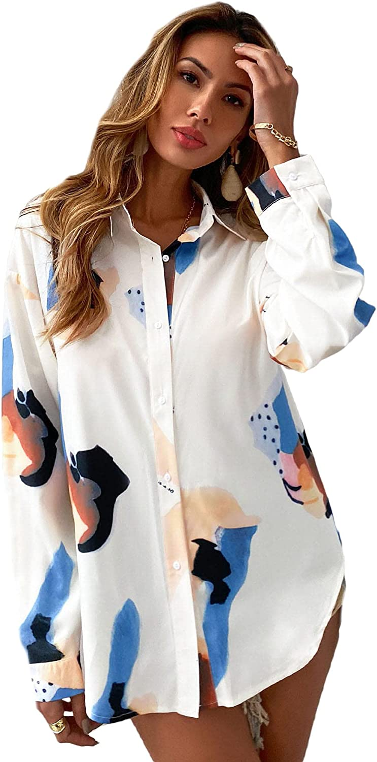 Floerns Women's Graphic Print Button Front Long Sleeve Tunic Blouse Shirts Tops