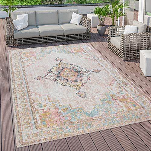 Paco Home Outdoor Teppich Terrasse Balkon Vintage Küchenteppich Orientalisches Muster Bunt, Grösse:160x220 cm