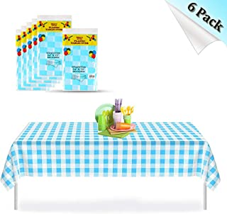 Blue Gingham Checkered 6 Pack Premium Disposable Plastic Picnic Tablecloth 54 Inch. x 72 Inch. Rectangle Table Cover, Indoor or Outdoor Parties Birthdays Weddings Christmas
