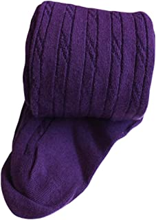 X&F Little Girls' Solid Cable Knit Footed Tights Warm Cotton Stockings