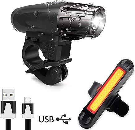 AMANKA Luce Bici, Luci LED per Bicicletta Ricaricabili USB Impermeabile, Super Luminoso Luce Bici Anteriore e Posteriore per Bici Strada e Montagna(Cavo USB Incluso)