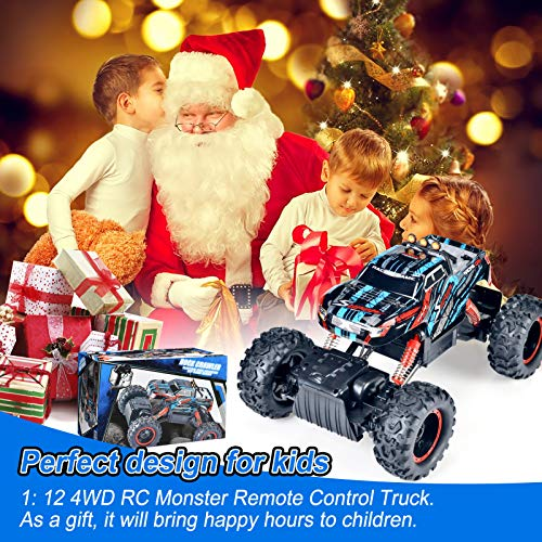 Remote Control Truck, RC Car 1: 12 Scale RC Truck 2.4Ghz Radio Remote Control Car RC Monster Vehicle Truck Crawler 4WD Off Road for Boys