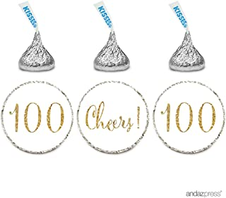 Andaz Press Gold Glitter Print Chocolate Drop Labels Stickers, Cheers 100, Happy 100th Birthday, Anniversary, Reunion, White, 216-Pack, Not Real Glitter, for Hershey's Kisses Party Favors