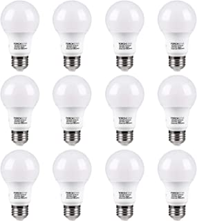 TORCHSTAR 12-Pack A19 LED Light Bulb, UL Listed 9W (60W Equivalent), E26 Standard Base 820lm, 3000K Warm White for Desk Lamp, Floor Lamp, Ceiling Fan, 3 Year Warranty