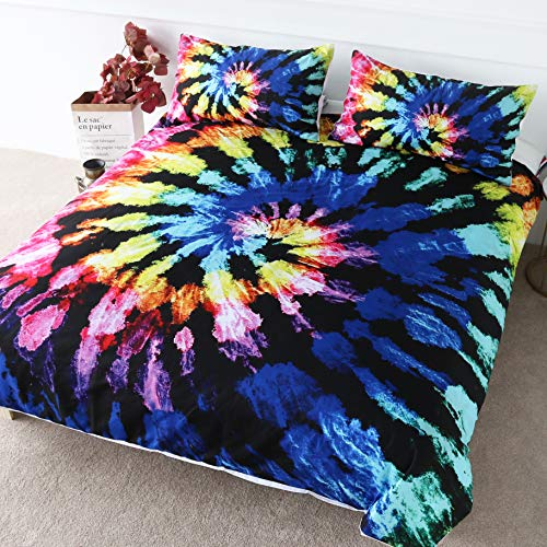 BlessLiving Retro Tie Dye Duvet Cover Boho Chic Dyed Bedding 3 Pieces Blue Pink Colorful Gypsy Bed Set (Double)