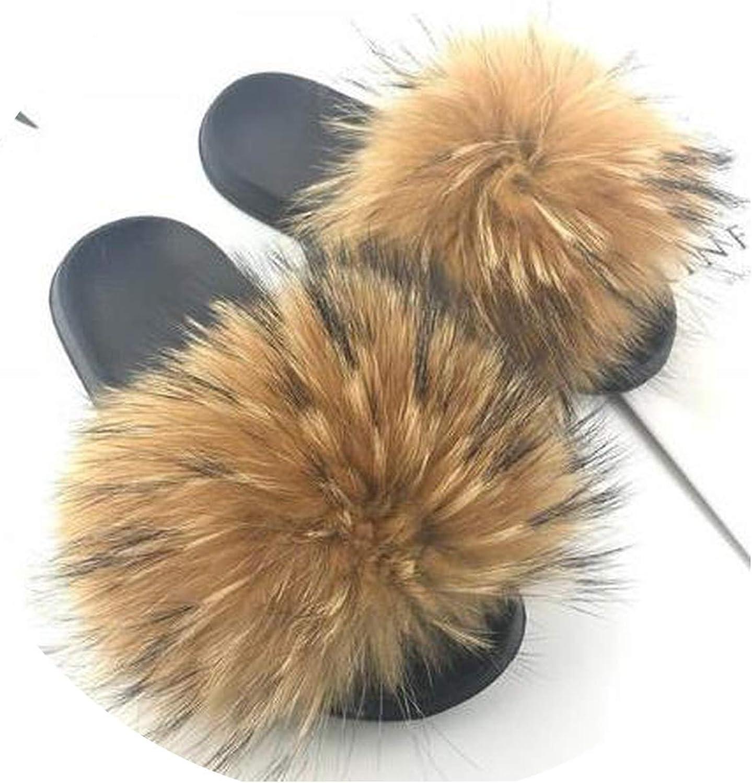 Just XiaoZhouZhou Real Raccoon Fur Slippers Women Sliders Casual Fox Hair Flat Fluffy Fashion Home Summer Big Size 45 Furry Flip Flops shoes,Brown,6