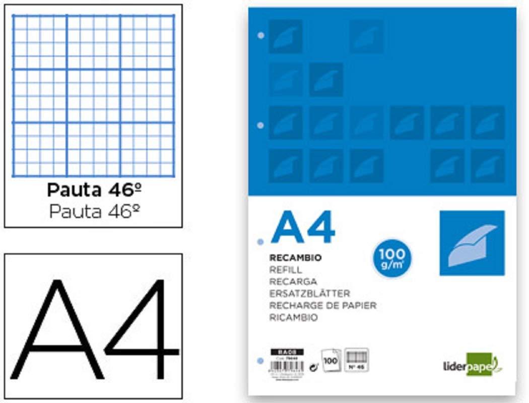 Liderpapel 79648 - Pack de 100 hojas de recambio, rayado, 4 taladros, A4: Amazon.es: Oficina y papelería