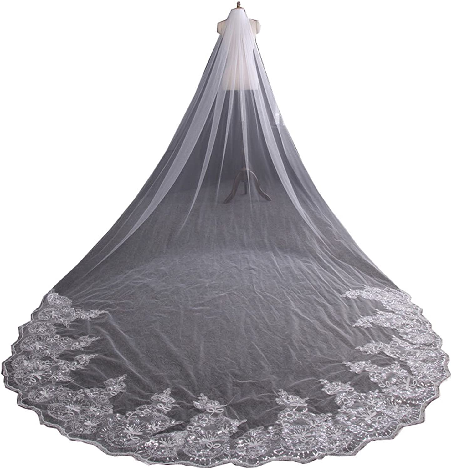 Beautydress Womens 4 Meters White Ivory Lace Edge Wedding Bridal Veil with Comb BP077
