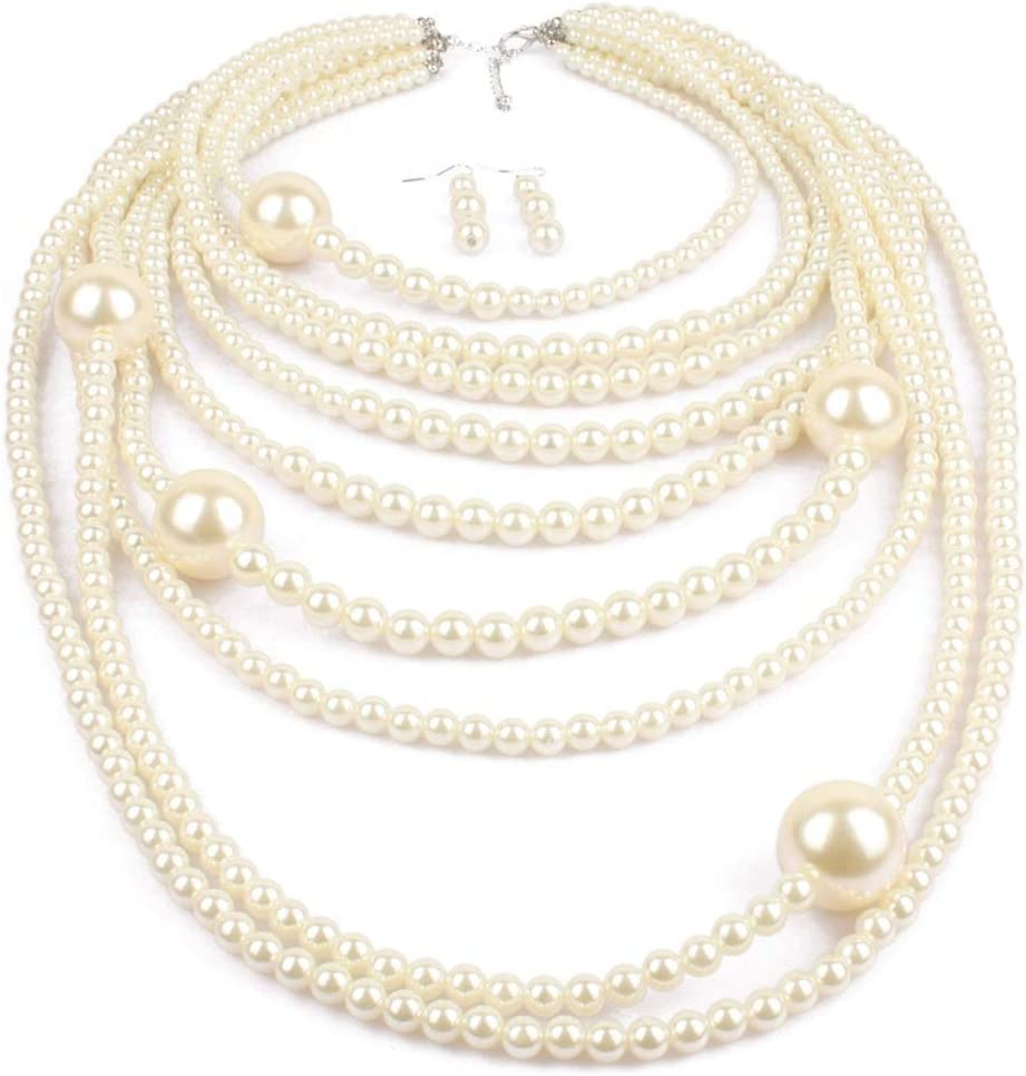 Urns Ashes Funeral Women's Jewelry Set Multi-layer Pearl Bridal Bridesmaid Jewellery Sets For Women Neckle And Earring Set Mother's Day Neckle Earrings Set Wedding (Color : White, Size : Free size),Si