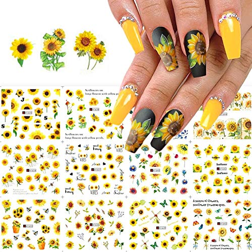 Sunflower Nail Stickers Floral Flower Nail Art Water Decals Transfer Foils for Nails Supply Watermark Small Daisy Flowers Designs Nail Tattoos for Women Nail Supplies Manicure Decorations 12PCS