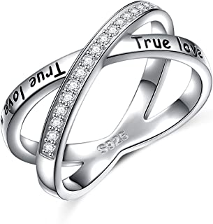 S925 Sterling Silver True Love Waits Infinity Criss Cross Rings for Women Lady
