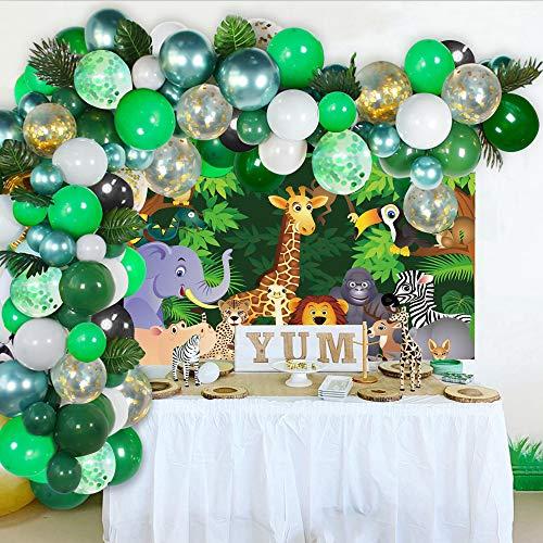Dschungel Dekorationen Ballon Girlande Kit, Dschungel Stoff Geburtstag Party Poster,Junge Luftballon, Grün und Gold Konfetti Ballons Safari Deko mit Palmblättern für Kinder Jungen Baby Geburtstag